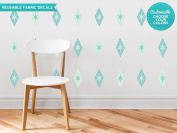 Diamond and Stars Fabric Wall Decals - Set of 24 Diamond and Stars Decals - Custom Options Available - Reusable, Repositionable