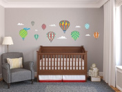 Hot Air Balloons Fabric Wall Decals - Standard Size - Rainbow