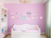 Hot Air Balloons Fabric Wall Decals - Standard Size - Pink