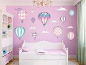 Hot Air Balloons Fabric Wall Decals - Jumbo size in Pink - Three Colour Options Available - Set of 9 Hot Air Balloons and Clouds