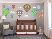 Hot Air Balloons Fabric Wall Decals - Jumbo size in Rainbow - Three Colour Options Available - Set of 9 Hot Air Balloons and Clouds