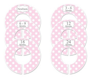 Pink Polka Dots #16 Baby Closet Dividers Girl Clothes Organisers Set of 6