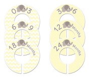 Yellow Elephant #41 Baby Closet Dividers Boy or Girl Clothes Organisers Set of 6