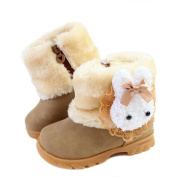 Femizee Baby Girls Infant Toddler Winter Fur Shoes Rabbit Warm Snow Boots 9-72 Months