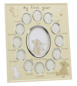 "Beautiful Cream and Silver Baby Photo Frame ""My First Year"" By Haysom Interiors"