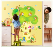 Good Life Tree with Doors Playing Monkeys for Children's Room Sun and Cloud Decor Present