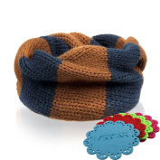 NSSTAR Fashionable Double Colour Baby Infant Kids Toddler Unisex Boys Girls Weave Knitting Warm Neck Warmer with 1PCS Free Cup Mat Colour Ramdon