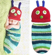 Kalevel Cute Cartoon Caterpillar Style Infant Newborn Baby Girl Boy Crochet Beanie Hat Clothes Baby Photograph Props