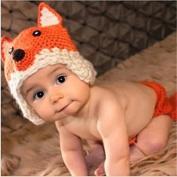 Kalevel Cute Cartoon Fox Style Infant Newborn Baby Girl Boy Crochet Beanie Hat Clothes Baby Photograph Props