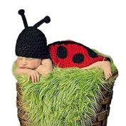 Kalevel Cute Cartoon Beetle Style Infant Newborn Baby Girl Boy Crochet Beanie Hat Clothes Baby Photograph Props