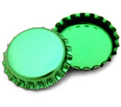 50 Green Metallic Bottle Caps Shiny Colours Craft Linerless