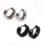 Top Plaza 2 Pair 18ga Stainless Steel Hoop Men's Stud Ear Earring, Black/ Stainless Steel Colour