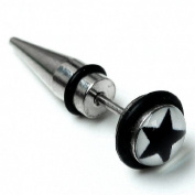 Top Plaza 2x 18ga Stainless Steel Spike Sharp Cone Screw Mens Taper Earring Stud, 7MM