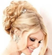 CURLY OR MESSY DRAWSTRING UPDO FULL BUN ADD BODY LIGHT BLONDE MIX