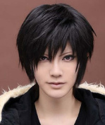 Amybria Men's Beautiful Male Black Short Straight Hair Wig/Wigs Cosplay Party