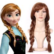 Kamo Princess Frozen Snow Queen Anna Cosplay Wig Anna Wig Costume Hair 65cm Long Brown + Free Wig Cap