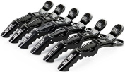 Black Croc Hair Styling Clips - 6 Pack