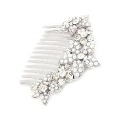 Bridal Wedding Jewellery Crystal Rhinestone Pearl Multi Flowers Hair Comb Silver