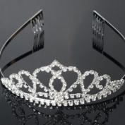 USA Seller Peach Heart Flower Shape Tiara Crown Headband Comb Pin Shining Rhinestone Wedding Bridal Bride Party Birthday Tiaras
