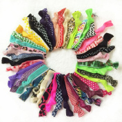 20pc Lace Printed Glitter Solid Assorted No Crease Hair Ties