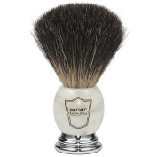 Parker Safety Razor 100% Premium Black Badger Bristle Shaving Brush with Ivory Marbled Handle & Free Stand
