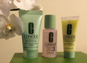 Clinique 3 Step Travel Size Set for Combination Oily to Oily Skin, Liquid Facial Soap Oily Skin (30ml) + Clarifying Lotion 3 (30ml) + Dramatically Different Moisturising Gel