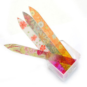 4 Colour Nail Art Quality Manicure Crystal Glass Nail Files Set 14cm