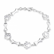 Bling Jewellery 925 Sterling Silver Dog Bone Jewellery Bracelet Animal Paw Print
