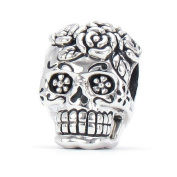 Bella Fascini Dia De Los Muertos - Day Of The Dead Decorated Rose Skull / Sugar Skull - Cole Collection - Solid 925 Sterling Silver European Charm Bracelet Bead - Compatible Brands