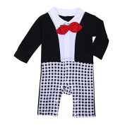 New Baby Boy Red Bow Tie Black Long Sleeve Tuxedo Crawled Suit Romper Outfit (90