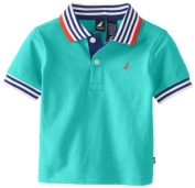 Nautica Baby-Boys Infant Short Sleeve Solid Tipping Polo, Light Jade, 12 Months Colour