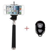 Finegood Extendable / Adjustable Camera Self Selfie Portrait Shooting Pole Handheld Stick Monopod Pod with 0.6cm Screw Hole Smartphone Adapter Monopod Mount Phone Holder for Samsung Galaxy S5 S4 S3, iPhone 4 / 4S / 5 / 5s / 5c, HTC One LG Sony, Nexu ..
