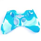 Factop xbox360 Controller Blue White Camo Silicone Case Cover Skin