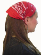 Red Cotton Paisley Wide Pre Tied Headband - Classic Paisley Wide Pre-Tied Cotton Headband In Attractive Red