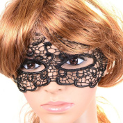 Amybria Mysterious Black Lace Lolita Sexy Handmade Half Face Mask Adjustable for Women Adjustable