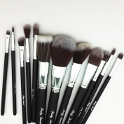 Partyqueen 12 PCS Pro Synthetic Kabuki Makeup Brush Set Cosmetics Kit makeup brush Kits Powder Tool Kit Make-up Brushes Brush Komestik Black Silver with gift bag