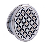 Damara Women's Black Small Pocket Mirror Grid Pattern With Clear Crystals