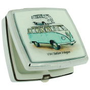 The Olivia Collection WV Blue Camper Van Square Pill Box With Two Compartments & Mirror SC696