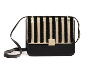 Hoxis Glamorous Metal Studded Striped Faux Leather Cross body Shoulder Bag