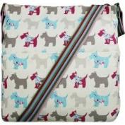 Cream Scottie Westie Dog Print Canvas Ladies Messenger Fashion Bag Handbag With Hanging Heart Gift