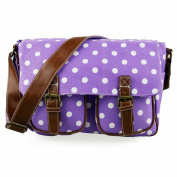 Miss Lulu Canvas Vintage Retro Style Girls Satchel Messenger Cross Body Shoulder School Bag Back To School College Polka Dot Spot Purple