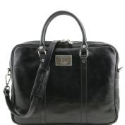 Tuscany Leather Prato - Exclusive leather laptop case Black