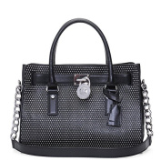 Michael Kors Microstud Hamilton Butter Calf Satchel Bag In Black - Size One