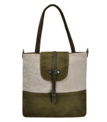 ZLYC Women's Retro Canvas and Leather Two-Way Convertible Zipper Tote Handbag / shoulder Bag
