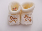 Unisex knitted rocking horse baby bootees beige newborn to 3 months