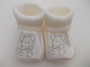 Unisex knitted little teddy baby bootees white newborn to 3 months