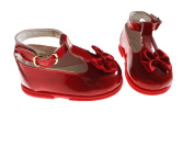 H016 Baby & Toddler Girls First Walking Buckle Bow shoes Patent Red