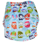 Adjustable Reusable Washable One Size Baby Infant Cloth Nappy Nappy Owl Pattern Blue w/ 2 Inserts Kids, Infant, Child, Baby Products