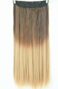 50cm 60cm 3/4 Full Head Clip in Hair Extensions Ombre One Piece 2 Tones Straight Black Brown Blonde Red