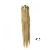 Yewig 50cm Loop Micro Ring Beads Tipped Remy Weave Straight 100% Real Human Hair Extensions 100s 1g/s #10 Brown Blonde